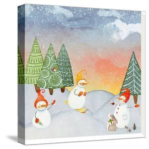 Skiing Snowman In Winter Forest With Bunny by Grab My Art