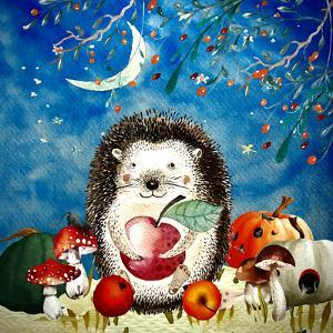 Sleepy Hedgehog In Autumnal Forest by Grab My Art