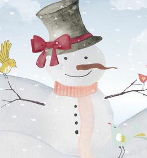 Snowman In Winter Forest by Grab My Art