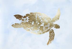 Gold Foil Sea Turtle I on Blue Wash by Grace Popp