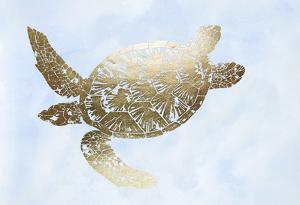 Gold Foil Sea Turtle II on Blue Wash by Grace Popp