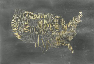 Gold Foil USA Map on Black Wash by Grace Popp