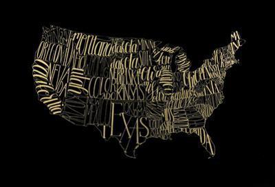 Gold Foil USA Map on Black by Grace Popp