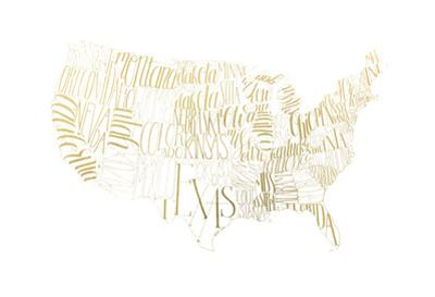 Gold Foil USA Map by Grace Popp