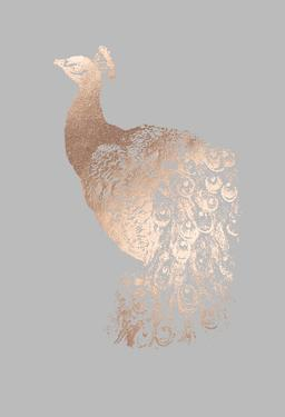 Rose Gold Foil Peacock I on Grey by Grace Popp