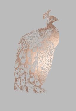 Rose Gold Foil Peacock II on Grey by Grace Popp