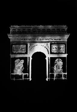 Silver Foil Arc de Triomphe on Black by Grace Popp