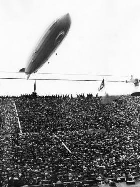 Graf Zeppelin Passing Low over Wembley Stadium During FA Cup Final Where Arsenal Beat Huddersfield