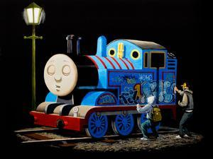 Graffiti on Sleeping Cartoon Train