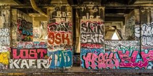 Graffiti on the walls, Tenth Street Bridge, Los Angeles County, Southern California, California...