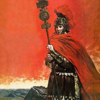 Roman Legionary in Front of Hadrian's Wall
