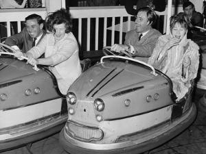 Graham Hill and Jim Clark on Dodgem Cars at Butlins, Bognor Regis, 1960S