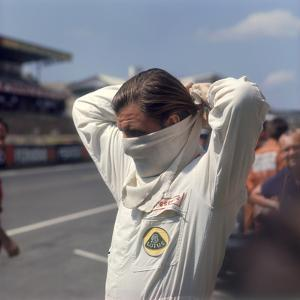 Graham Hill Getting Ready for the French Grand Prix, Le Mans, France, 1967