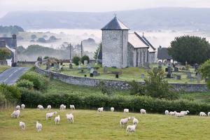 Early Morning Mist in the Valleys Surrounds St. David's Church by Graham Lawrence