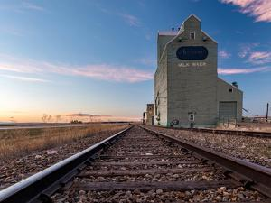 Grain elevator and railroad track, Milk River, Alberta, Canada