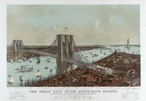 Grand Birds Eye View of the Great East River Suspension Bridge by Currier & Ives