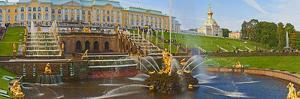 Grand Cascade Fountain in Front of the Peterhof Grand Palace, Petrodvorets, St. Petersburg, Russia