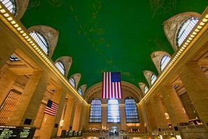 Grand Central Station panoramic view with American Flag at Amtrak Station in New York City, NY