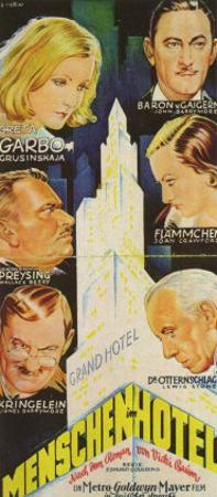 Grand Hotel, German Movie Poster, 1932