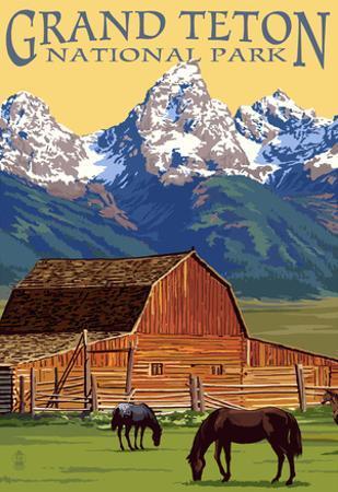 Grand Teton National Park - Barn and Mountains