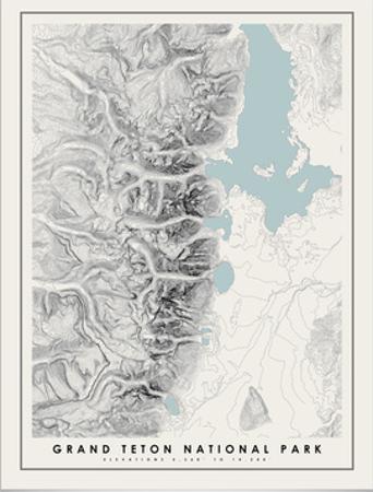 Grand Teton National Park Topographical Print