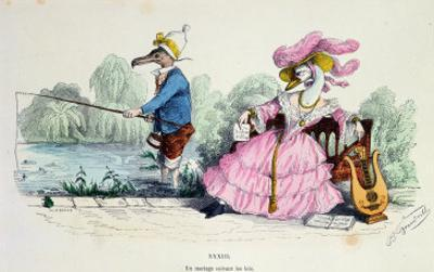 Marriage by the Book, Caricature from Les Metamorphoses du Jour Series, Reprinted in 1854