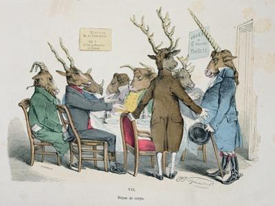 Repas de Corps, Caricature from Les Metamorphoses du Jour Series, Reprinted in 1854