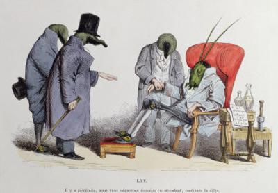 """The Leech Doctors, Caricature from """"Les Metamorphoses Du Jour,"""" 1854"""