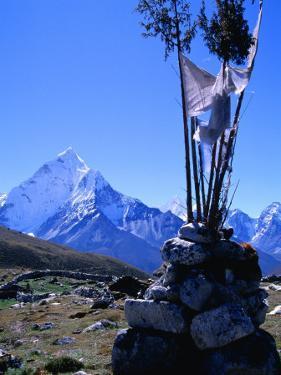 Ama Dablam Peak and Chorten in Khumbu Valley on the Everest Basecamp Trek, Khumbu, Nepal by Grant Dixon