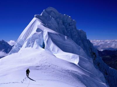 Climber on Summit Ridge of Nevadao Quitaraju, Cordillera Blanca, Ancash, Peru