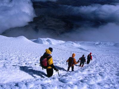 Climbers Descending After a Successful Ascent of Volcan Cotopaxi, Cotopaxi, Ecuador