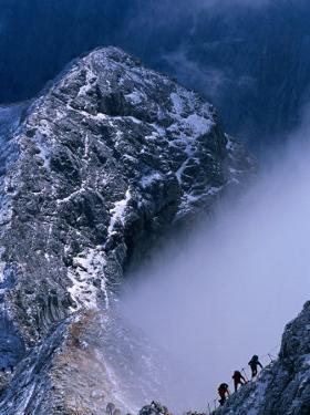 Climbers on Summit Ridge of Mt. Triglav, Triglav National Park, Gorenjska, Slovenia by Grant Dixon