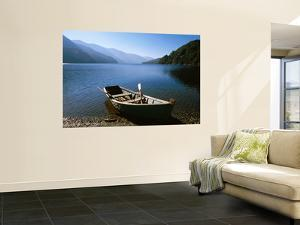 Dinghy on Beach at Lago Curruhue, Lake District by Grant Dixon