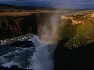 Gulfoss Waterfall and Canyon at Sunrise, Gullfoss, Vesturland, Iceland by Grant Dixon