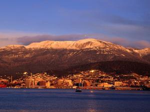 Hobart City Beside Derwent River and Below Mt. Wellington, Hobart, Tasmania, Australia by Grant Dixon