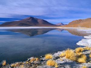 Landscape Reflected in Saline Lake in Arid, High Altitude Terrain, Bolivia by Grant Dixon