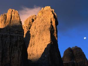 Moon Above Tre Cimo Di Lavaredo at Dawn, Dolomiti Di Sesto Natural Park, Trentino-Alto-Adige, Italy by Grant Dixon
