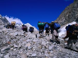 Porters on Mountaineering Expedition Climbing Tirich Glacier in Hindu Kush Range, Pakistan by Grant Dixon