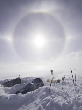 Solar Halo (Due to Blowing Snow and Ice Crystals) Above Southern Patagonian Icecap by Grant Dixon