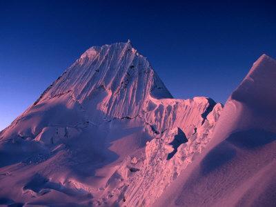 Sunset on Southwest Face of Nevado Alpamayo, Cordillera Blanca, Ancash, Peru