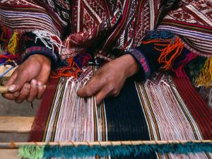 Traditionally Dressed Weaver Working, Pisac, Cuzco, Peru by Grant Dixon