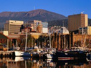Waterfront with Mt. Wellington Behind, Hobart, Tasmania, Australia by Grant Dixon