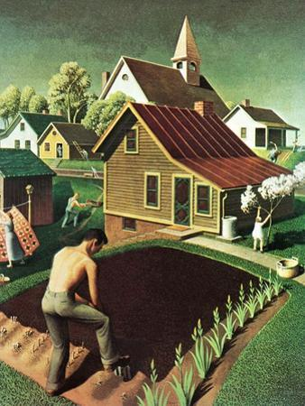 """Re print of ""Spring 1942"","" April 18, 1942 by Grant Wood"