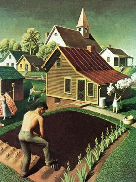 """""""Re print of """"Spring 1942"""","""" April 18, 1942 by Grant Wood"""