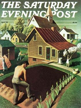 """""""Re print of """"Spring 1942"""","""" Saturday Evening Post Cover, April 18, 1942 by Grant Wood"""