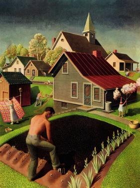 """""""Spring 1942,"""" April 18, 1942 by Grant Wood"""