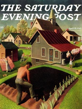 """Spring 1942,"" Saturday Evening Post Cover, April 18, 1942 by Grant Wood"