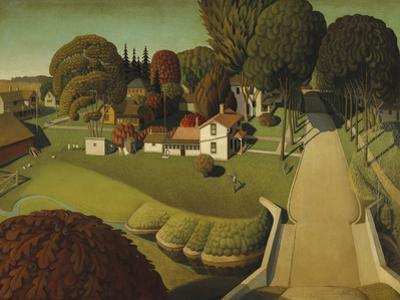 The Birthplace of Herbert Hoover, West Branch, Iowa, 1931 by Grant Wood