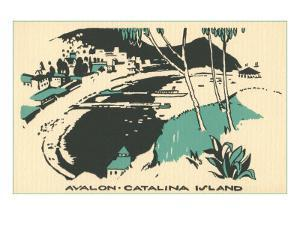 Graphic of Avalon, Catalina Island, California