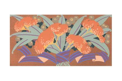 Graphic Orange Flower Bouquet with Striped Banner